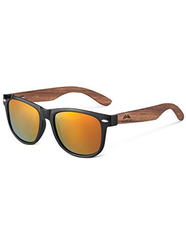 Amexi Herren und Damen Polarisierte Sonnenbrille mit Holzbügeln, UV-Schutz, mit Brillen-Etui, Schraubenzieher, Brillen tuch und Tasche (Orange)