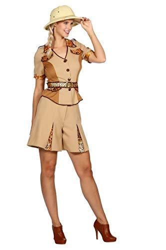 Safari Kostüm Damen Hemd und Hose (ohne Hut) Archäologe Karneval Fasching Hochwertige Verkleidung Fastnacht Größe 48 Beige ()