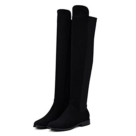 Women High Over Knee Tall Boots Flat Boots Long Boot New Fashion Round head Low Heel Scrub Stretch Black Spring Fall Winter Party Work , Black , EUR 40/ UK