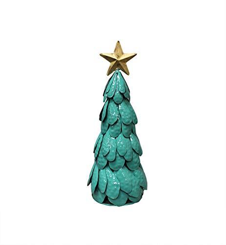 Sapin de noël en métal Vert Peint - Objet décoratif Artisanal à Poser - Sapin