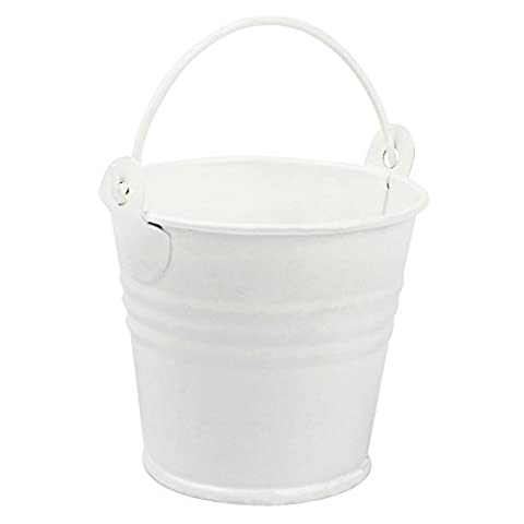 Yalulu 12Pcs Small Mini Metal Buckets Party Wedding Candy Favours Crafts Metal Pails Gifts (White)