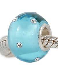 """Andante-Stones - original, Plata Sterling 925 sólida + cristal opaco Murano, cuenta KERASTYLE """"Après-Ski"""", elemento bola para cuentas European Beads + saco de organza"""