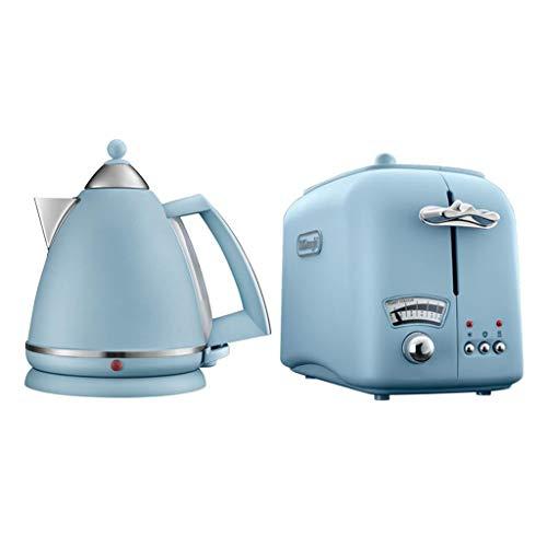 FYJK Hervidor de Vidrio iluminador, 1,7 litros, 3000 vatios y tostadora de Impresiones,Azul,Kettle+Toaster