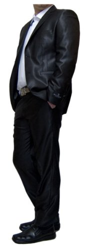 Designer da uomo lucido sciancrata tuta da uomo giacca con i pantaloni tuta Tempo un'altezza Nero