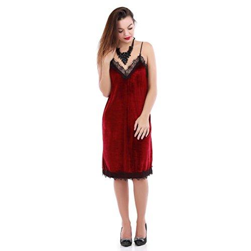 La Modeuse - Robe slip dress en velours Rouge