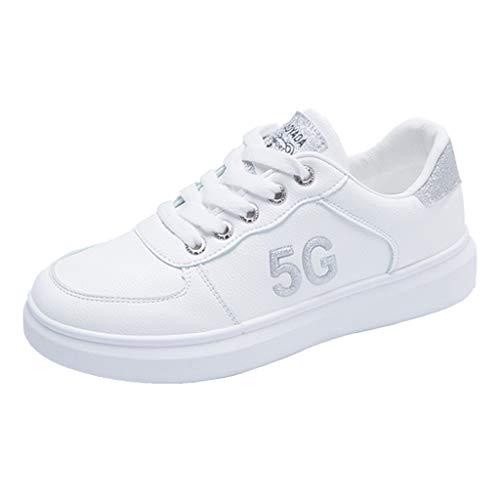 Flache Kleine Weiße Schuhe Damen 5G Sneaker Atmungsaktive Sportschuhe Student Turnschuhe Frühling Herbst Wanderschuhe Freizeitschuhe Laufschuhe, Silber, 39 EU