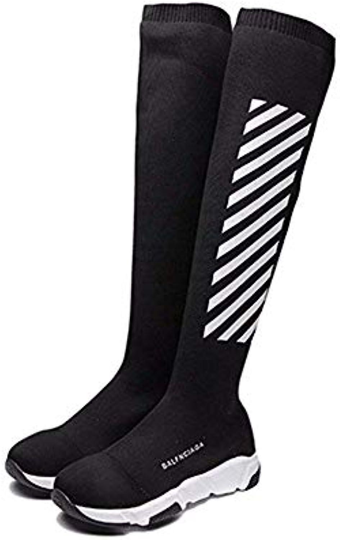 DEED Stivali da donna All-Match Knitted Elastic Knee High avvio Cylinder Scarpe da autunno traspiranti,36 Eu,Nero   Prima Consumatori    Uomini/Donna Scarpa