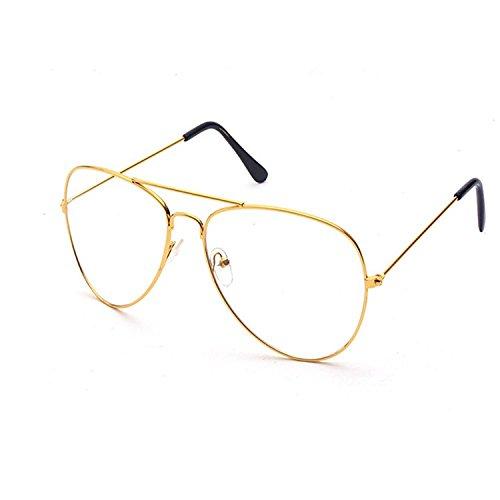Yezelend Vintage Pilotenbrille Metallrahmen Fensterglas Brille Ohne Stärke Durchsichtig Nerdbrille...