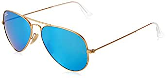 Ray-Ban Unisex RB3025 Aviator Sunglasses 58mm, Blue (001/4F), 55