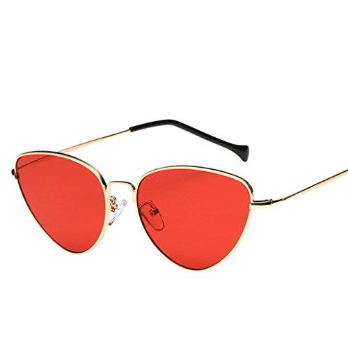 TUDUZ Frauen Männer Sommer Vintage Retro Cat Eye Brille Unisex Sonnenbrille/Farben Wählbar (Rot)