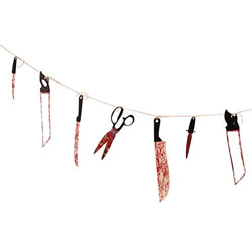 HIJIN Halloween Dekoration Blutige Messer Waffen Garland Blood Knife Banner String Hängenden Fahnen Wimpel Bunting Halloween Kunststoff Folter Werkzeuge Bar KTV