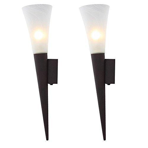 2er Set LED Wand Fackeln Wohn Ess Zimmer Flur Lampen Alabaster Glas Strahler Leuchten Rost Farben -