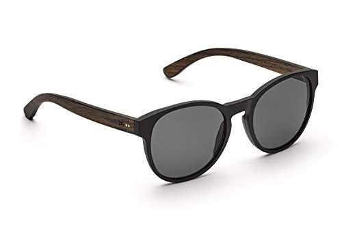 TAKE A SHOT - Große runde Holz-Sonnenbrille Damen, Holz-Bügeln und Kunststoff-Rahmen, UV400 Schutz, rückentspiegelte Gläser - King of Hearts
