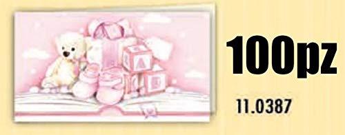 100 pz bigliettini bigliettino bomboniera nascita battesimo rosa bambina orsetto e giochi