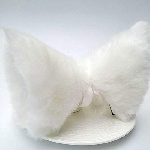 fengwen66 Cosplay Party Cat Fox Long Fur Ears Costume Hair Clip Halloween Orecchiette(White White)