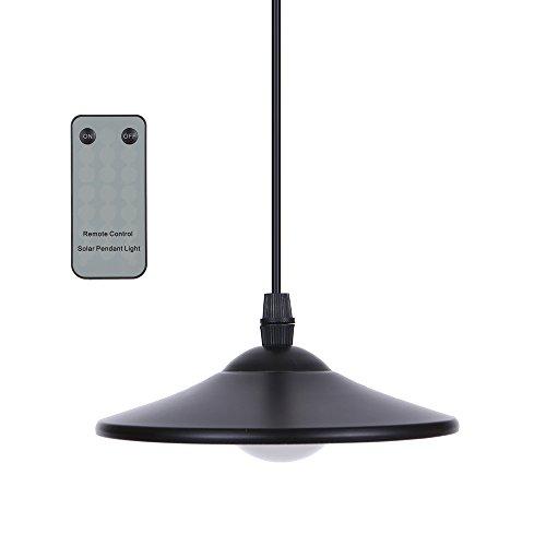 Lixada 3W Solar Hängende Lampe/Solarleuchten mit Fernsteuerungs, Schuppen Licht Hängende Lampe 4 LEDs 250LM(HF-Fernbedienung & Pull-Cord-Schalter)