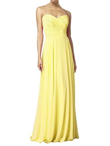 HWAN Frauen eine Linie Schatz Lange Kleid Brautjungfer Abendkleider Gelb (Abendkleider Von Jovani)