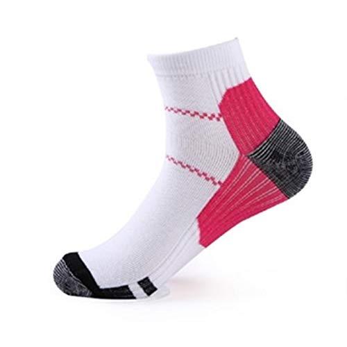 MINGYUECHAO 1 Paar Männer Frauen Compression Socks Plantar Socken Anti-Fatigue Massage Knöchel Fuß Socke Unisex Atmungsaktive Socken (Color : Rose red, Size : L XL) -