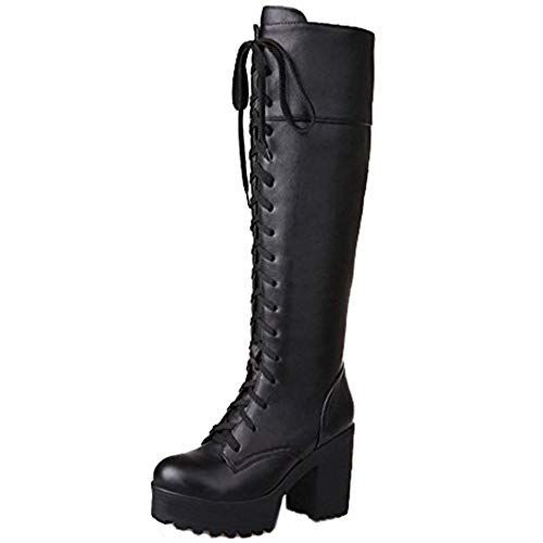 Flache Heel Stiefel (COOLCEPT Damen Martin Stiefel Runde Zehe Palteau Flache Blockabsatz Schwarz Schuhe (43 EU, Schwarz))