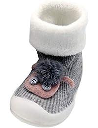 9c55282e3ece8 Bébé Unisexe Chaussons Chaussettes antidérapantes avec Semelle Pantoufle,  QinMM Chaton Boule Poilue Chaussures pour Tout
