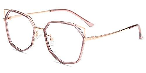 Zinff Geek-Chic Damen Brille Retro Vintage Cateye-Form Nerdbrille Clear Linsebreite 53mm mit...