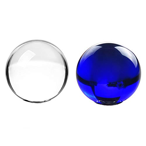 SIMUER 2 Pack 70mm Crystal Ball, Glass Sphere Crystal Healing Juggling Ball Art Decor K9 Crystal Prop for Photography Decoration Birthday Gift Teaching(Clear + Blue)