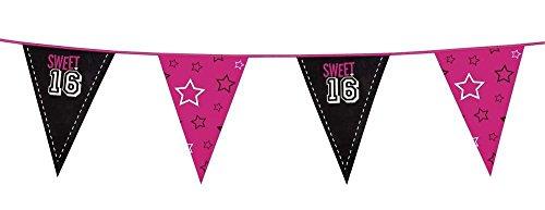 (Neu: 1 Zweifarbige Wimpelkette * Sweet 16 * für Eine Party Zum 16. Geburtstag | Deko Dekoration Sechzehn Teenie Teenager Motto Mädchen Girl Feier Bunting)