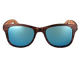 amoloma Holz Sonnenbrille mit matt frozen verspiegelten Gläsern wayfarer Style (Ice Blau matt verspiegelte Gläser)