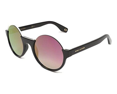 Marc Jacobs Metall Braue Runde Sonnenbrille in schwarz rosa Spiegel MARC 302/S 807 51 VQ Black Pink Pink Mirror 51