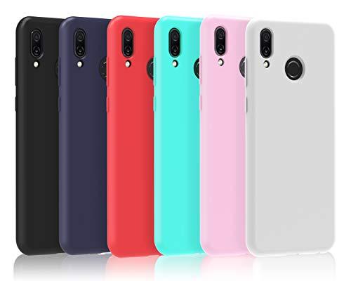 VGUARD [6 Stücke] Hülle für Huawei Honor Play, Ultra Dünn Tasche Schutzhülle Weiche TPU Silikon Gel Handyhülle Case Cover (Schwarz + Blau + Rot + Grün + Rosa + Transparent)