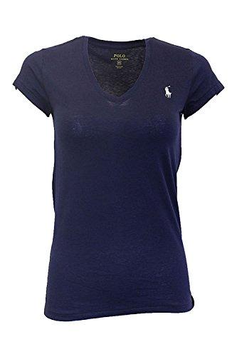 Ralph Lauren Frau Polo Pony Logo mit V-Ausschnitt T-Shirt Newport Navy Mittel -