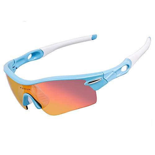 Polarisierte Sonnenbrille mit UV-Schutz Ubreakable TR90 Rahmen Unisex Polarisierte Sport Sonnenbrille Mit 5 stücke Wechselbaren Linsen Radfahren Baseball Superleichtes Rahmen-Fischen, das Golf fährt