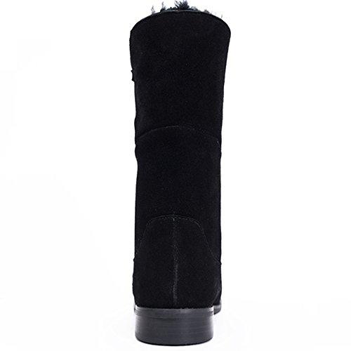 OZZEG Talons bas bottes fourrure doublure chaussures hiver chaud de la femme, bottes en cuir Noir