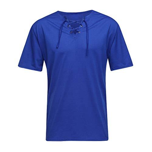 Sommer Mens Fashion Casual Komfort einfarbig Gurt Kurzarm T-Shirt Bluse Zolimx