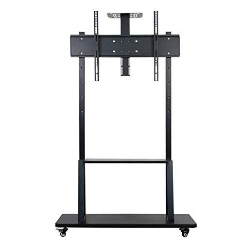 KBKG821 TV-Ständer, Universal Tabletop TV-Ständer für 55 bis 100-Zoll-Fernseher mit 360-Grad-Schwenkung, Höhenverstellung, Basis aus gehärtetem Glas, mit beweglichen Rädern (Tv-bodenständer Räder)