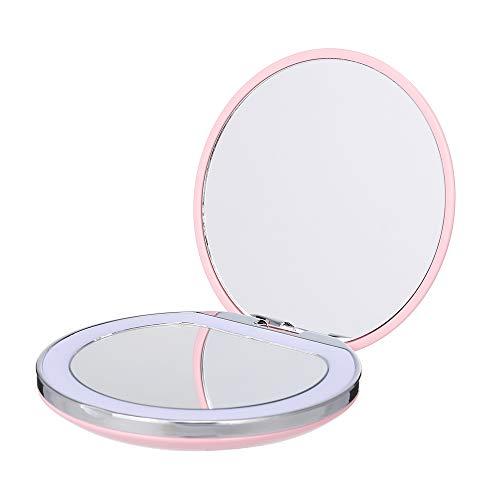 Mini espejo de maquillaje LED portátil de bolsillo cosmético con luz Recargable compacto de mano 1X...