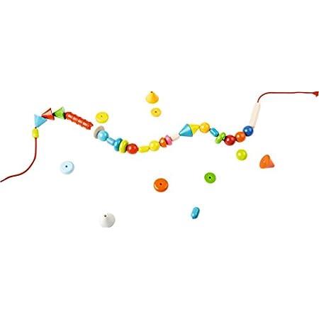 HABA 302637 – Fädelspiel Regenbogenperlen | Kreatives Fädelspielzeug mit 66 Perlen zum Auffädeln in unterschiedlichen Farben und Formen  | Spielzeug ab 3 Jahren