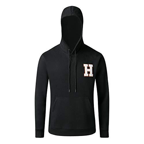 RONGHAOYI Herren Premium Hoodie Zip Fleece H Letter Print Muster Känguru Pocket Sport Hoodies - Schwarz - Klein Guy Zip Hoodie