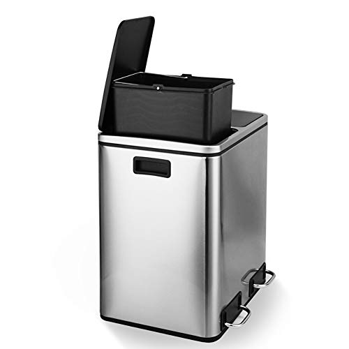 Edelstahl Dual-fach Mülleimer,schritt Mit Deckel Zum Recycling Eingestuft Treteimer Papierkorb Für Küche Badezimmer Kommerzielle-a 41x36x47cm(16x14x19inch)