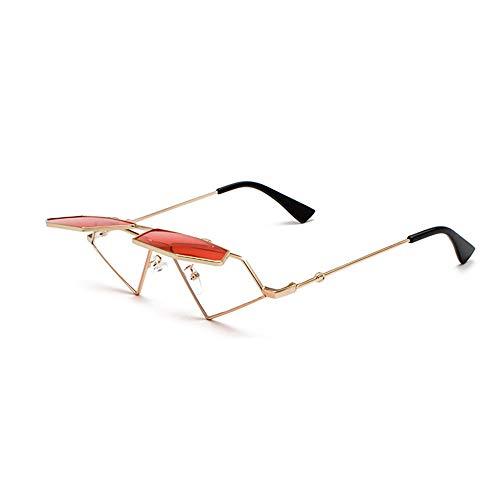 Männer Vintage Klar Flip Up Steampunk Sonnenbrille Metallrahmen Dreieck Sonnenbrille für Frauen UV400 Sommer,A