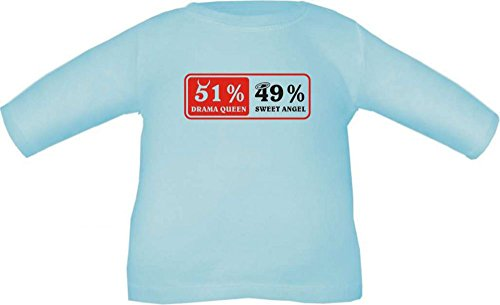 Baby / Kinder T-Shirt langarm 51 % dramaqueen 49 % angel / Größe 60 - 152 in 6 Farben Hellblau