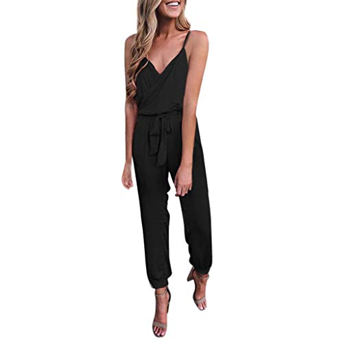 Jumpsuit kurz Fashion Women Solid V-Neck Strapless Bandage Ruffled Sleeveless Long Jumpsuits Schwarz L White Ruffled Top Outfit