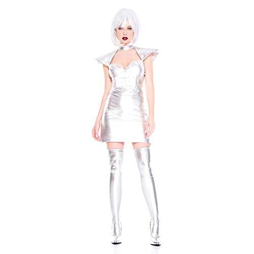 Halloween Kostüm, Damen Star Wars Kriegerin, Bühnenkostüm, Lackleder Kleid, Silber Weltraum,Solidcolor,Freesize