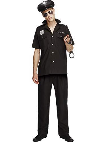Halloweenia - Herren Männer Cooler Bulle Polizei Polizist Kostüm mit Obertiel Hose und Mütze, perfekt für Karneval, Fasching und Fastnacht, L, Schwarz