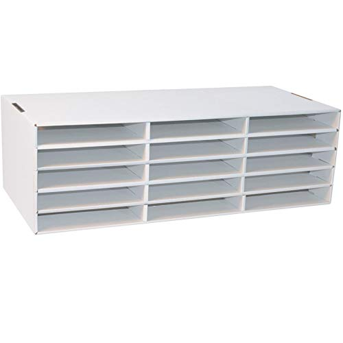 15compartment- Fach Größe 3,8x 25,4x 31,8cm-21,6cm Höhe x 73,2cm Breite x 34,3cm Tiefe weiß Konstruktion Papier Aufbewahrung (1Sortiermaschine)-bos-pac001310