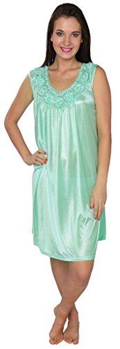 Beverly Rock Damen Langes Satin-Nachthemd aus solidem Trikot - - 4X Mehr -