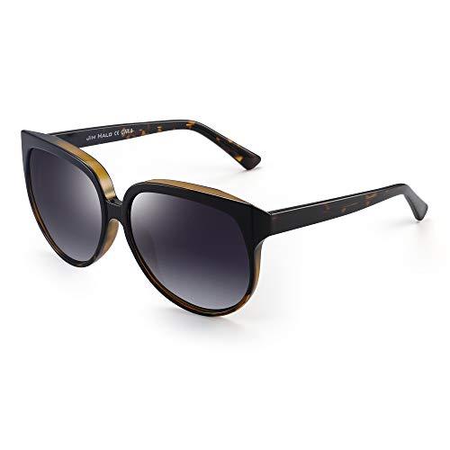 JIM HALO Oversized Polarisiert Sonnenbrille für Damen Designer Gradient Schatten UV400(Schwarz Braun Demi Rahmen/Polarisierte Graue Linse)