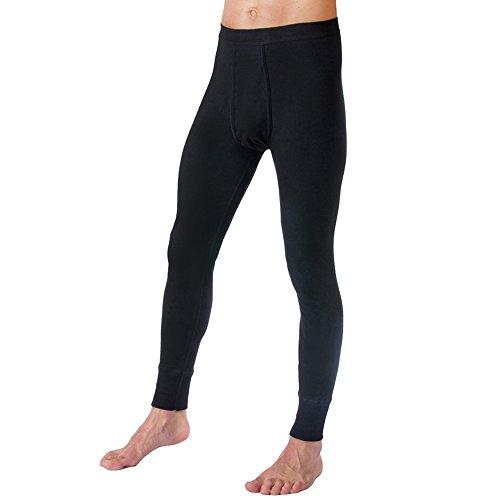 HERMKO 3540 Herren Lange Unterhosen mit Eingriff und Weichbund aus 100% Baumwolle in Feinripp, Farbe:schwarz, Größe:D 7 = EU XL (Unterhosen Lange)