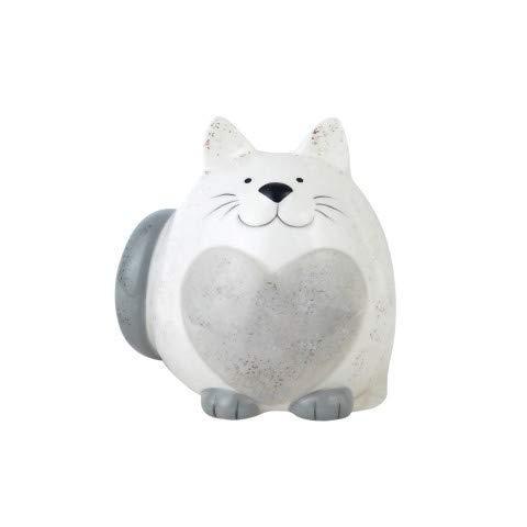 Art Deco Hucha Gato Ceramica Blanco 12 cm