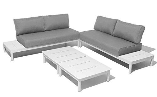 PEGANE Salon 4 pièces en Aluminium Coloris Blanc/Gris Clair